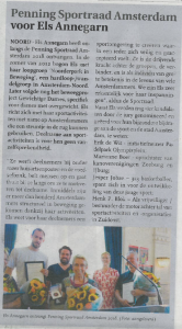 Els Annegarn ontvangt Penning Sportraad Amsterdam